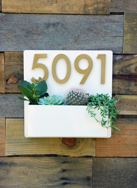 "Hip to Be Square Planter (12"" x 12"") w/ Silver or Brass Numbers"