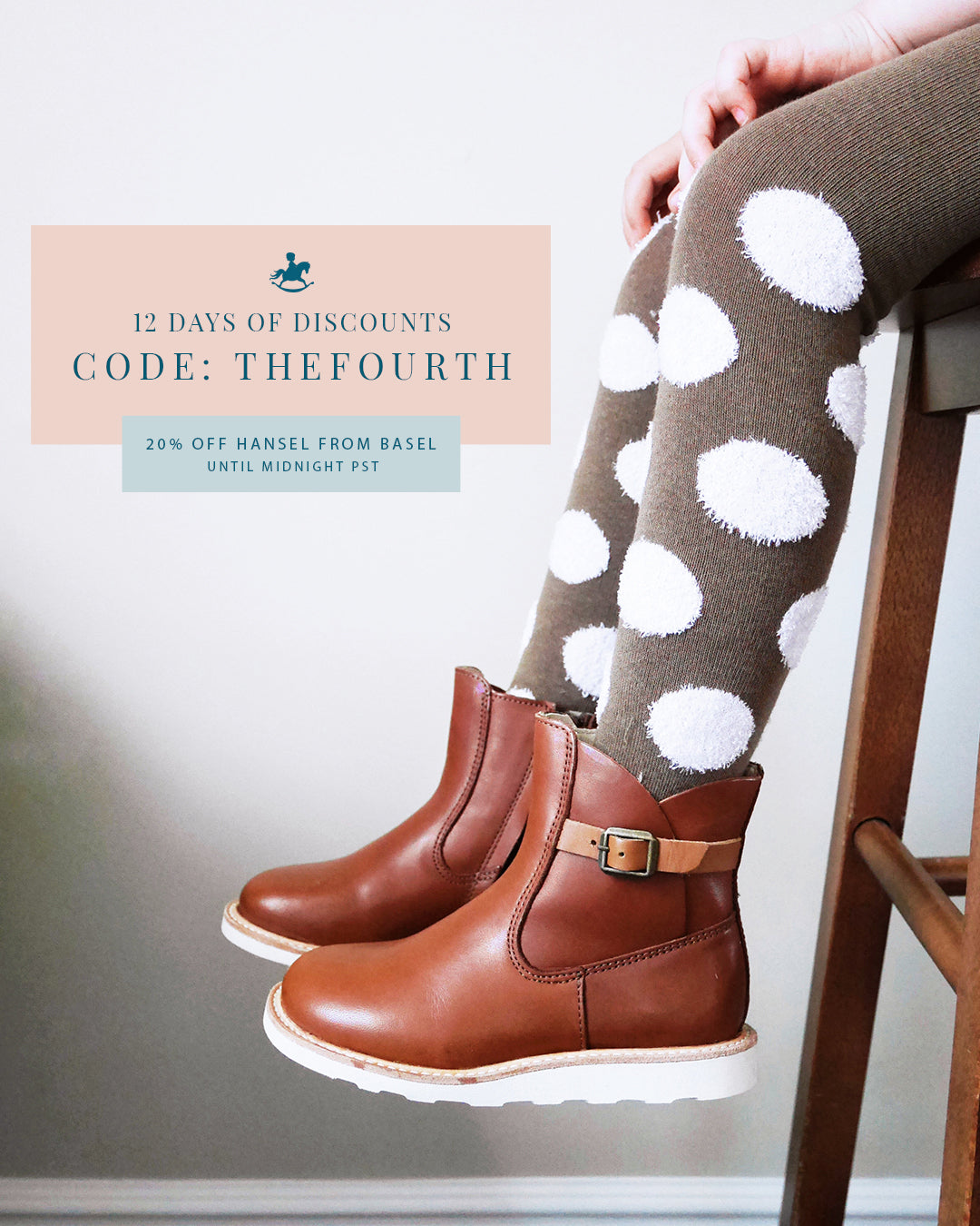 Hansel from Basel dotty tights with Young Soles Vera boots in Chestnut