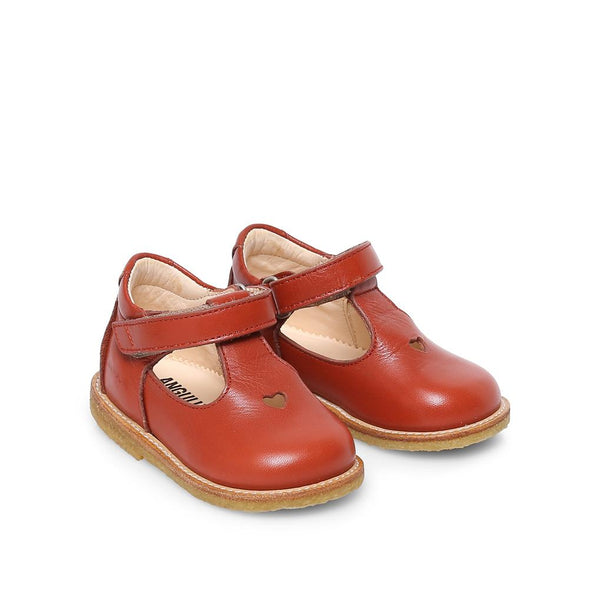 Rust Mary Janes with velcro strap