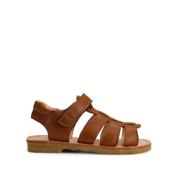 Cognac Open Toe Sandal with Velcro
