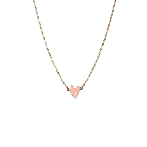 Cranberry Peche Heart Necklace