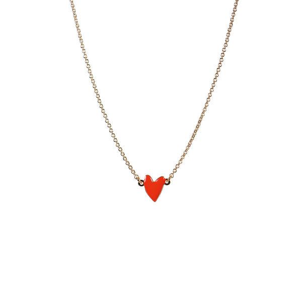 Cranberry Vermillon Heart Necklace