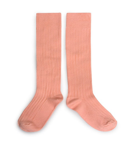 Ribbed Knee High Socks - Apricot