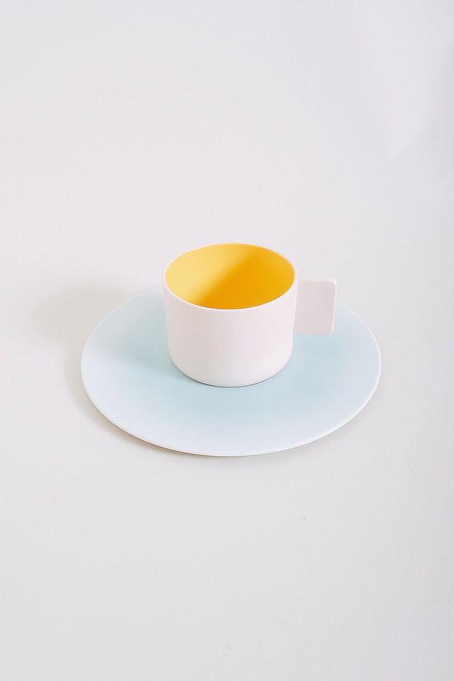 1616 Arita Coffee Cup + Saucer – Light Pink/Light Blue