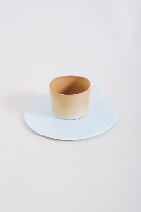 1616 Arita Coffee Cup + Saucer – Brown/Light Blue