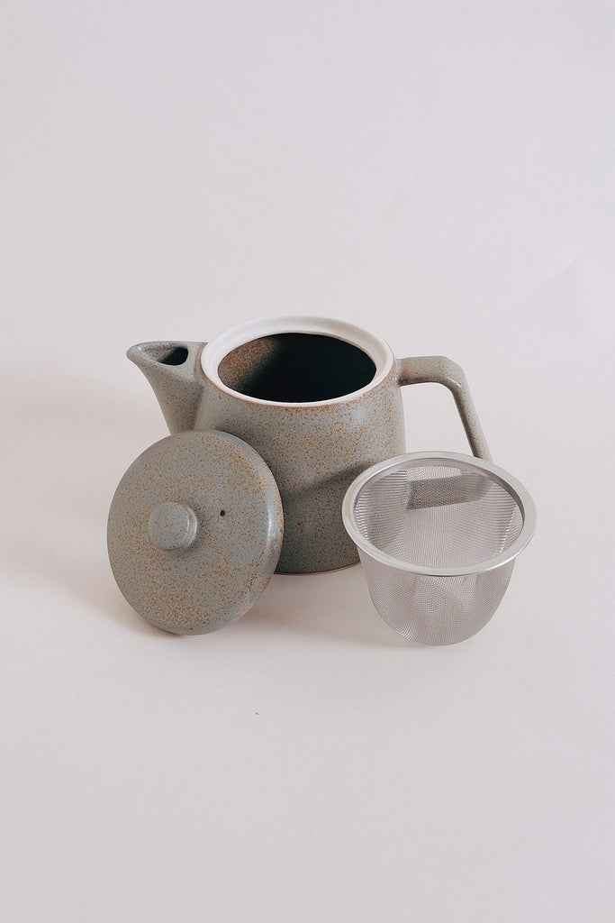 Chips Stoneware Teapot - Grey