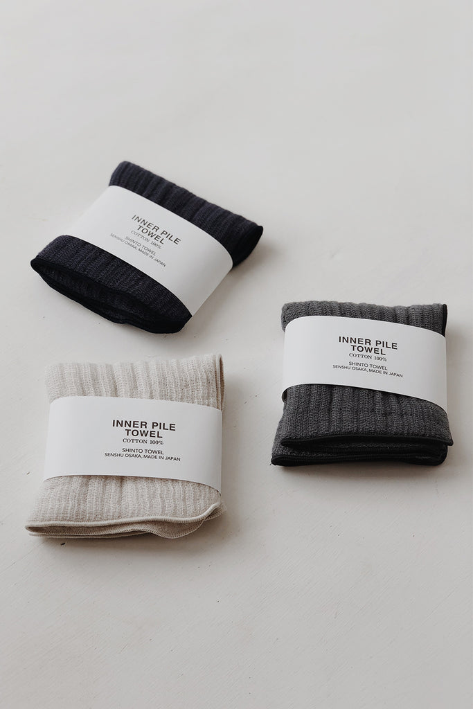 Shinto Inner Pile Face Towel - Charcoal
