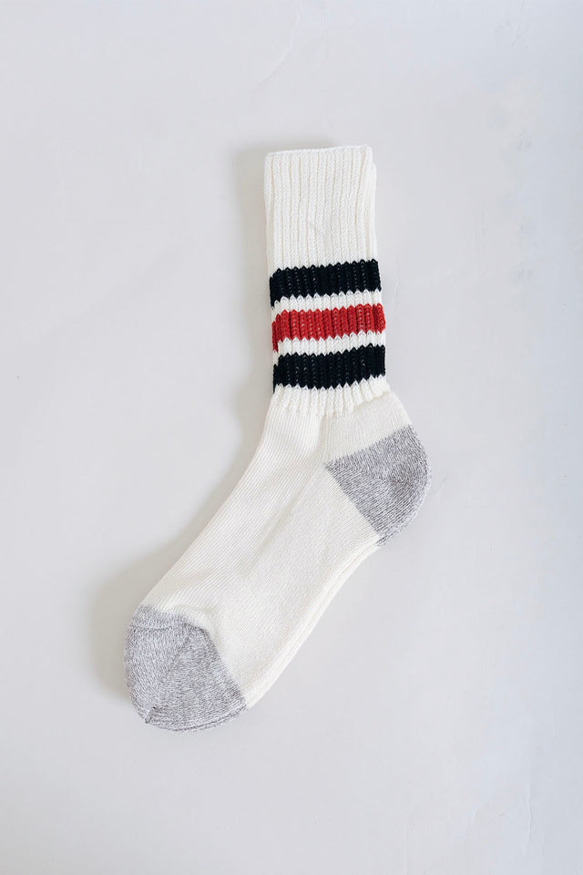 Rototo Coarse Ribbed Old School Socks - Black/Red