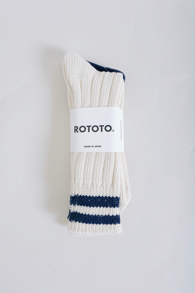 Rototo Raw Two Stripe Cotton Socks - Navy