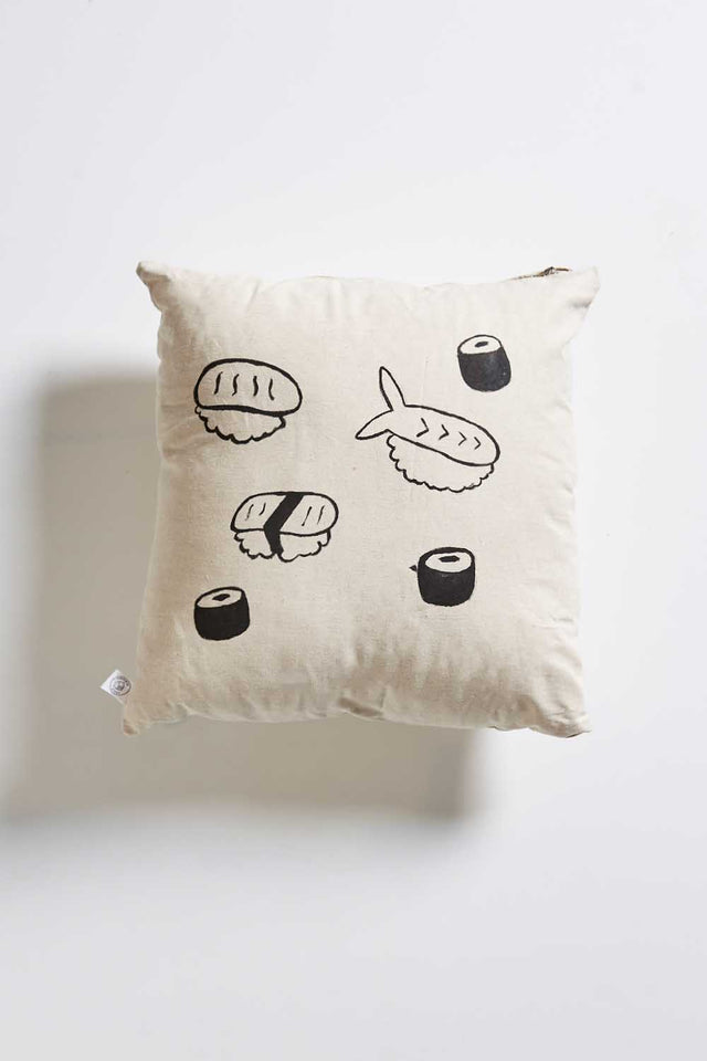 HAND PAINTED: Linen Sushi Cushion