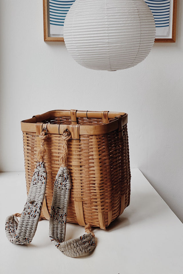 Antique Japanese Basket with Woven Straps