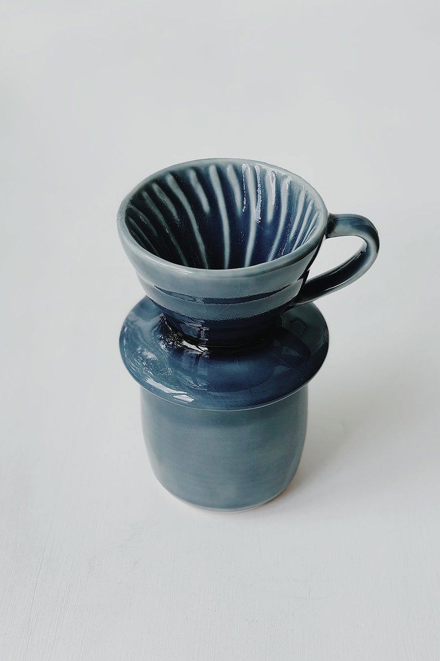 Ceramic Pour Over + Pinch Cup - Blue