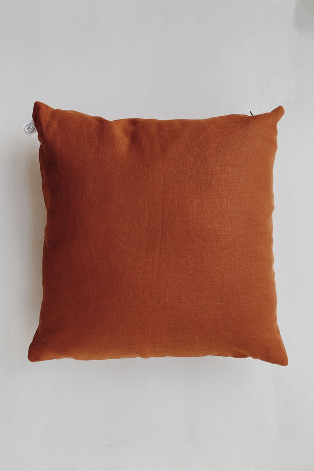 Linen Cushion - Rust