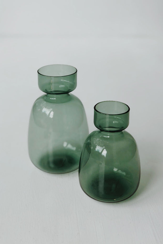 Japanese Green Glass Vase - Large