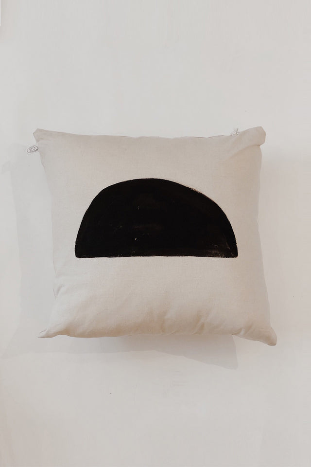 HAND PAINTED: Half Moon Cushion - Natural Linen