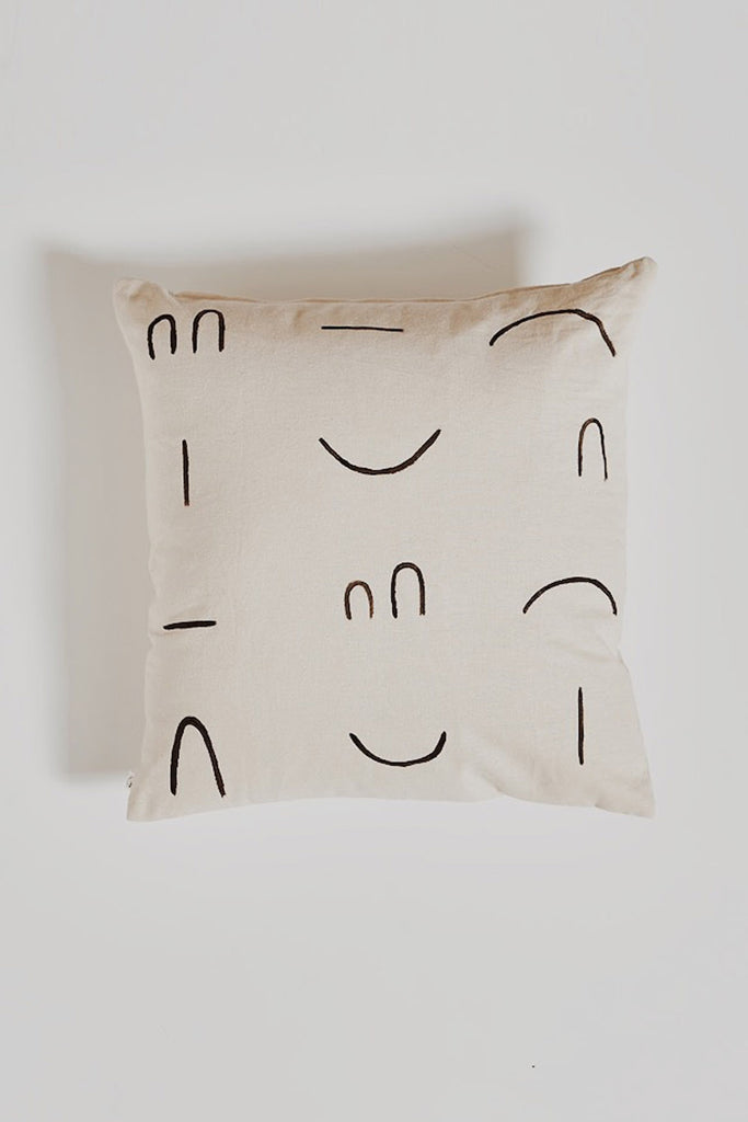 HAND PAINTED: Line Pillow - Neutral
