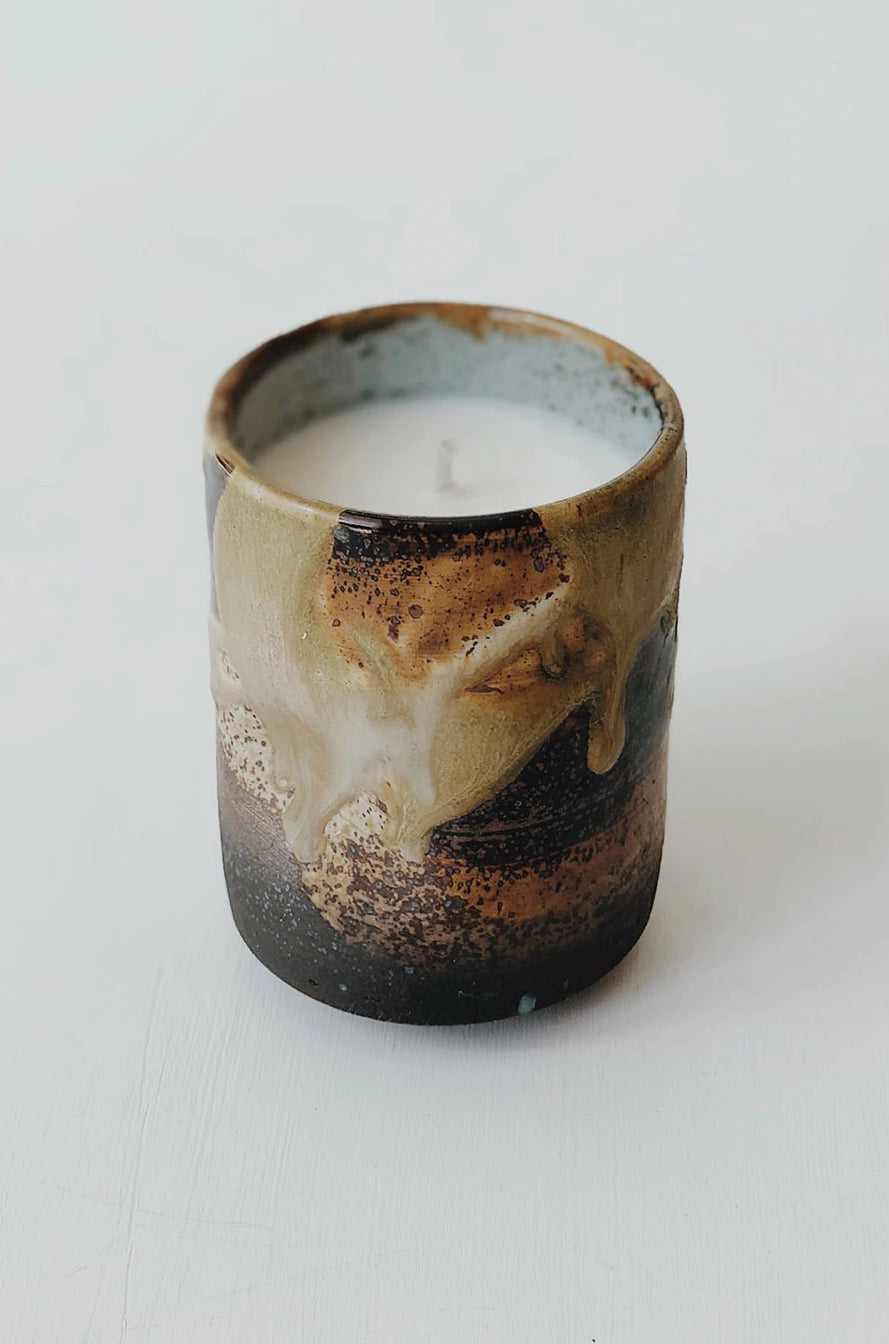 Ceramic Pinch Cup Candle - Teak