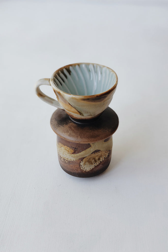 Ceramic Pour Over + Pinch Cup - Teak