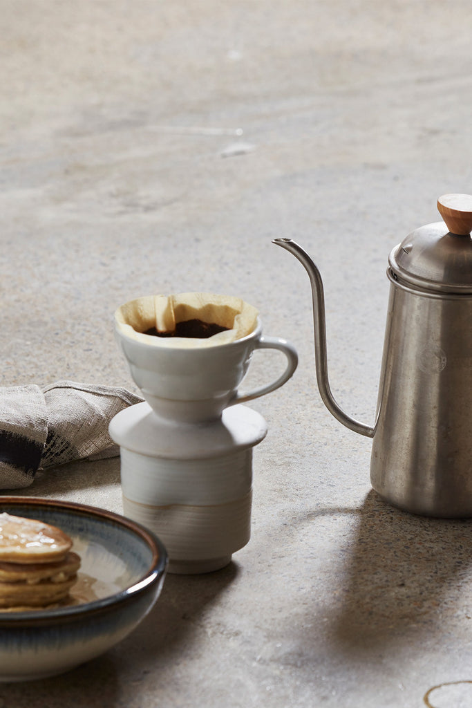 Ceramic Pour Over + Pinch Cup - White