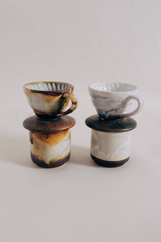 Ceramic Pour Over + Pinch Cup - Metallic