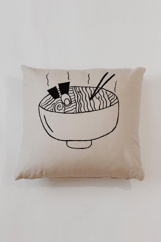 HAND PAINTED: Linen Ramen Cushion