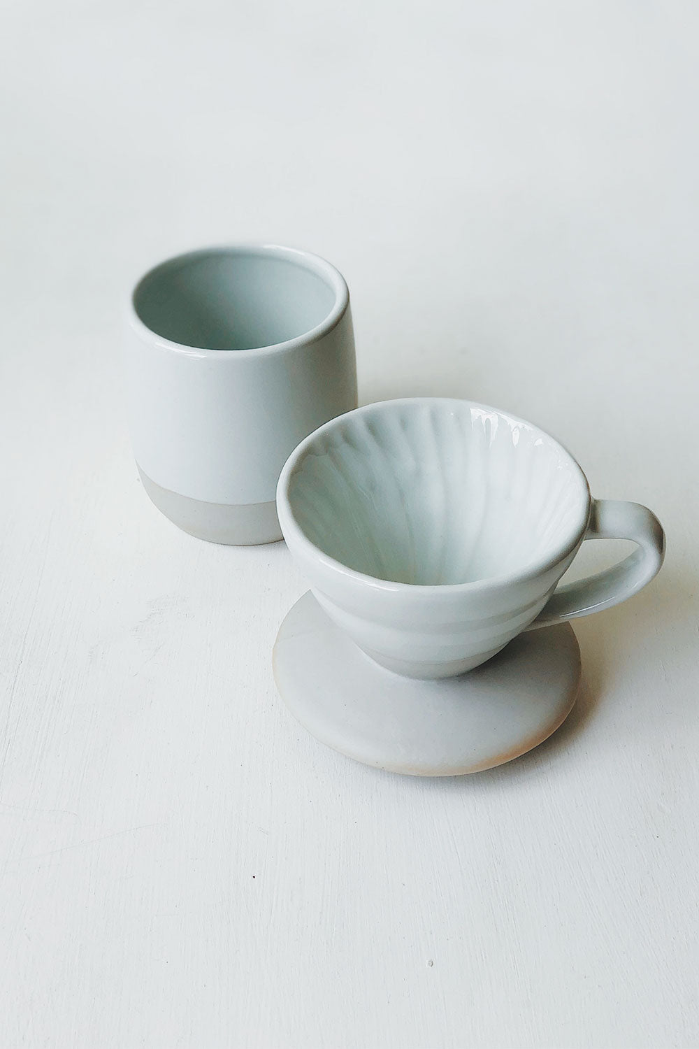 Ceramic Pour Over + Pinch Cup - Cream