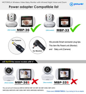 T-Power Ac Adapter Compatible with Motorola MBP33 MBP33P MBP35 MBP35BW MBP36 MBP36BU MBP36PU MBP41 MBP41PU MBP43 MBP43PU Remote Wireless Digital Video Baby Monitor&Camera (Parent & Baby Unit)