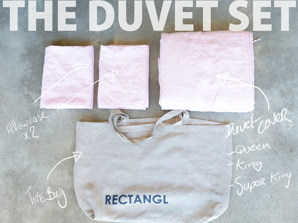 RECTANGL.co| Pale Pink Duvet Set 100% Linen - -Duvet Sets - 1