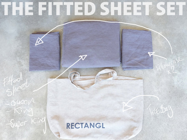 RECTANGL.co| Charcoal Fitted Sheet Set 100% Linen - -Fitted Sheet Set - 1