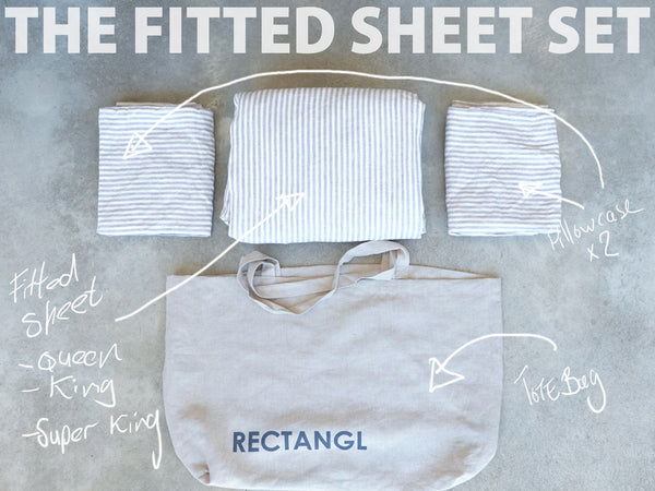 RECTANGL.co| Grey Stripe Fitted Sheet Set 100% Linen - -Fitted Sheet Set - 1