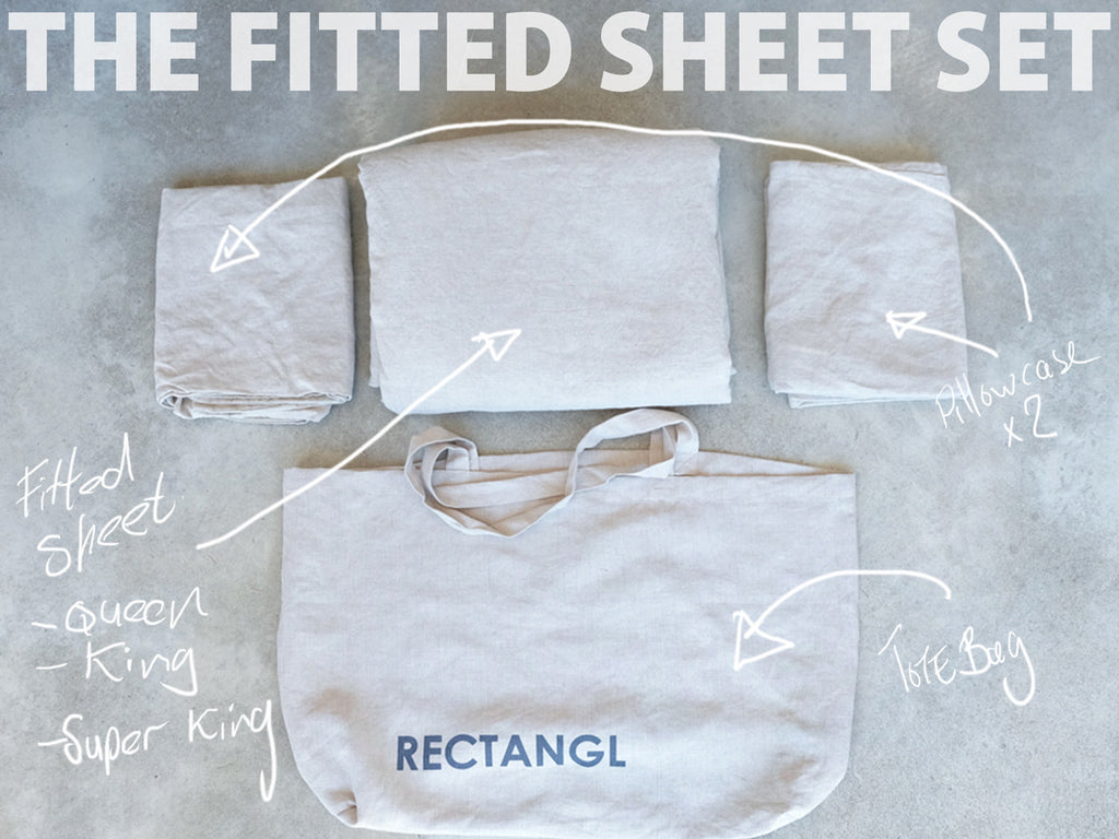 RECTANGL.co| Natural Fitted Sheet Set 100% Linen - -Fitted Sheet Set - 1