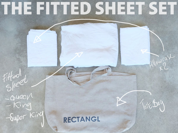 RECTANGL.co| Optic White Fitted Sheet Set 100% Linen - -Fitted Sheet Set - 1