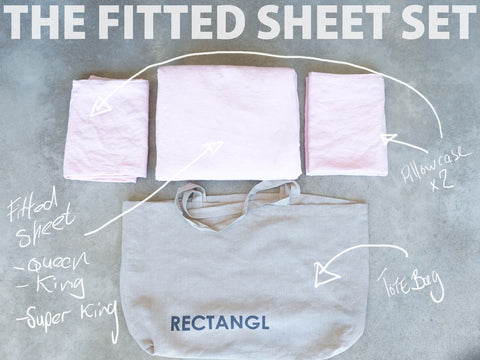 Pale Pink Fitted Sheet Set 100% Linen