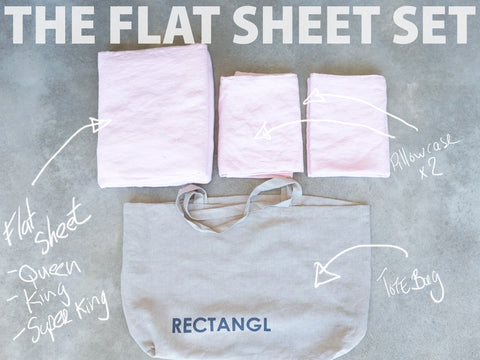 Pale Pink Flat Sheet Set 100% Linen