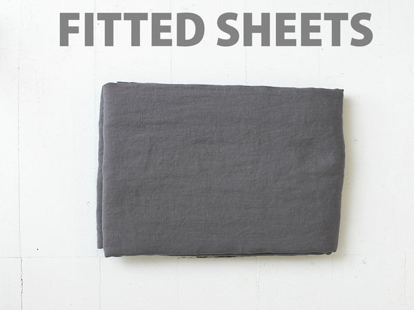 RECTANGL.co| Charcoal Fitted Sheet Individual 100% Linen - -Fitted Sheet Individual - 1