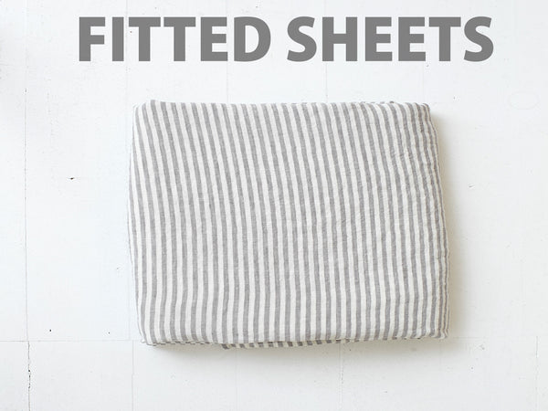 RECTANGL.co| Grey Stripe Fitted Sheet Individual100% Linen - -Fitted Sheet Individual - 5