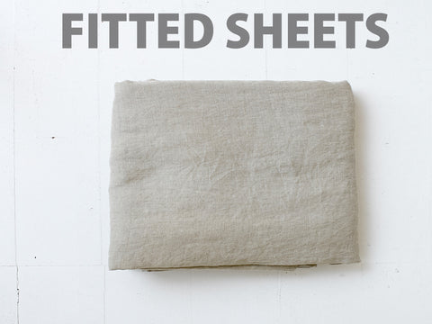 Natural Fitted Sheet Individual 100% Linen