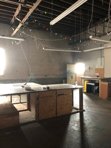 image of raw garage space before renovations