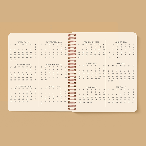 Serpentine Planner, July 2020 - August 2021, TERRA COTTA
