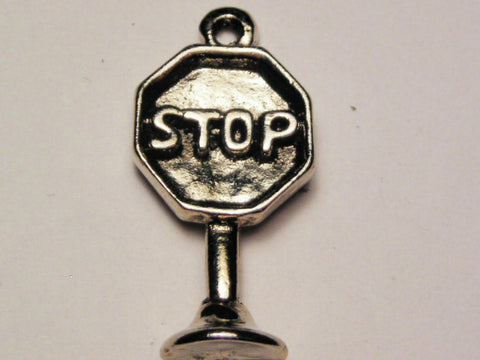 Stop Sign Genuine American Pewter Charm