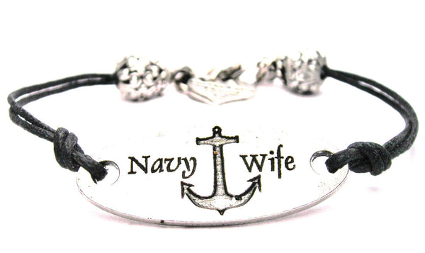Navy Wife Plate Black Cord Bracelet