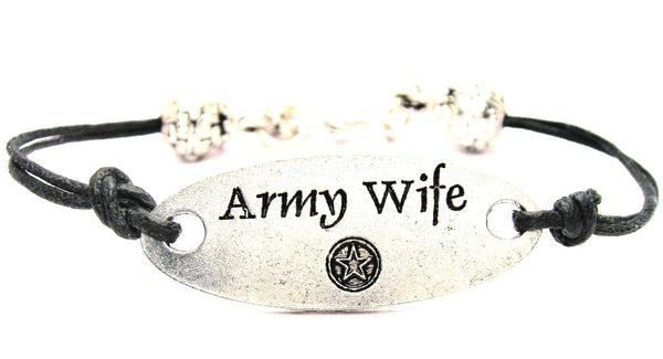 Army Wife Plate Black Cord Bracelet