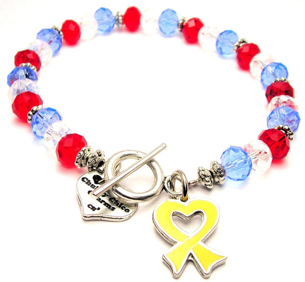 Hand Painted Heart Shaped Awareness Ribbon Yellow Crystal Beaded Toggle Style Bracelet