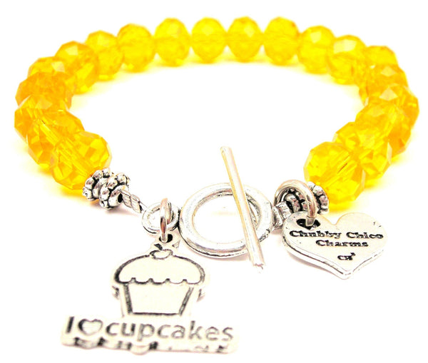 I Love Cupcakes Crystal Beaded Toggle Style Bracelet