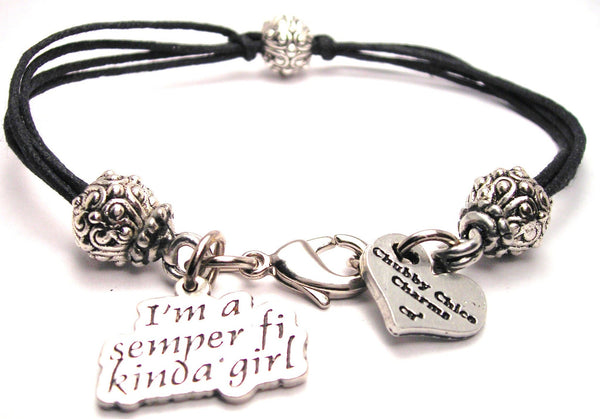 I'm A Semper Fi Girl Beaded Black Cord Bracelet