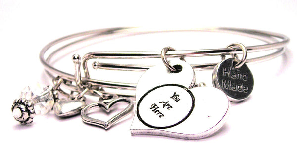 You Are Here Heart Expandable Bangle Bracelet Set