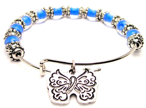 medical awareness bracelet, awareness ribbon bracelet, medical disorder bracelet, butterfly bracelet