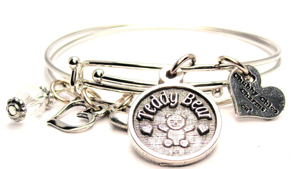 Teddy Bear Circle Expandable Bangle Bracelet Set
