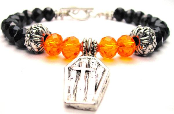 Coffin With Cross Crystal Beaded Toggle Style Bracelet