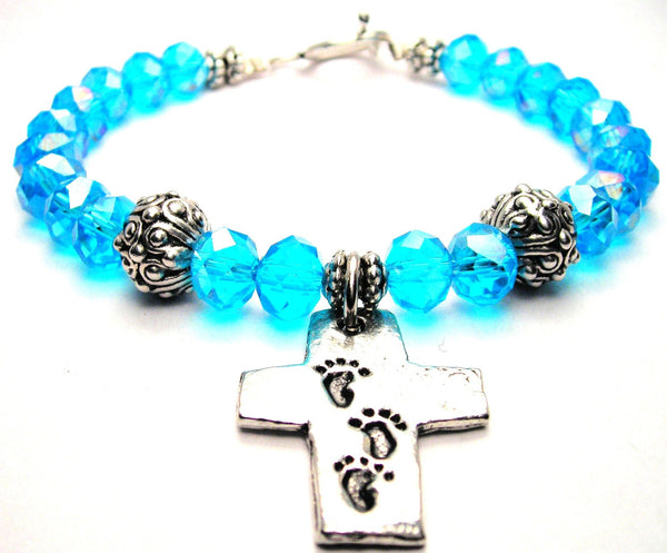 Cross With Footprints Crystal Beaded Toggle Style Bracelet
